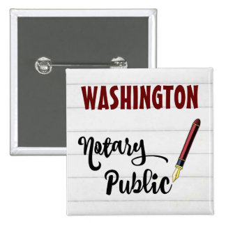 Washington Notary Public Ink Pen 15 Cm Square Badge