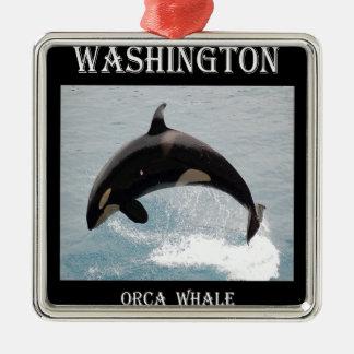 Washington Orca Whale Square Metal Christmas Ornament