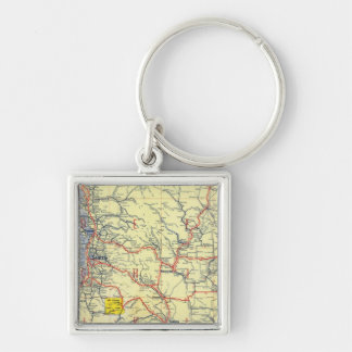 Washington, Oregon, Idaho Silver-Colored Square Key Ring