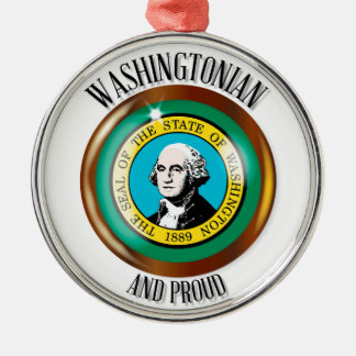 Washington Proud Flag Button Silver-Colored Round Decoration