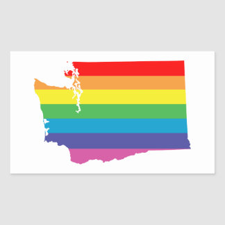 washington rainbow rectangular sticker