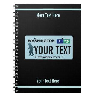 Washington Sasquatch License Plate Notebook