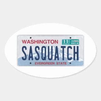 Washington Sasquatch License Plate Oval Sticker