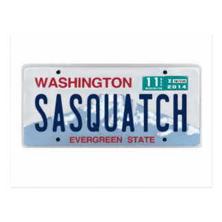 Washington Sasquatch License Plate Postcard
