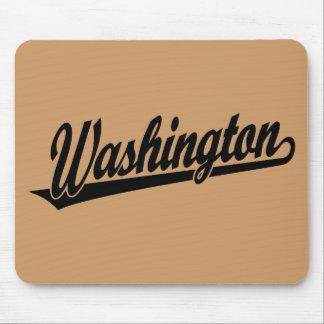 Washington script logo in black mouse pad