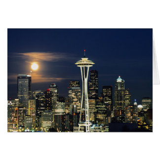 Washington, Seattle, Skyline at night from Kerry 1 Card