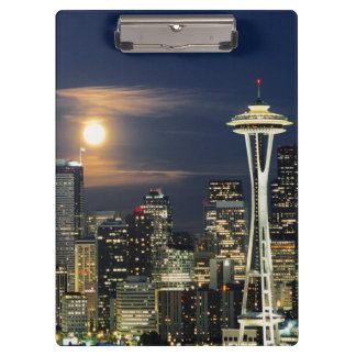 Washington, Seattle, Skyline at night from Kerry 1 Clipboard