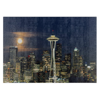 Washington, Seattle, Skyline at night from Kerry 1 Cutting Board