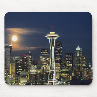 Washington, Seattle, Skyline at night from Kerry 1 Mouse Mat