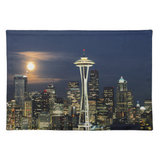 Washington, Seattle, Skyline at night from Kerry 1 Placemat