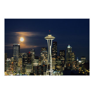 Washington, Seattle, Skyline at night from Kerry 1 Poster