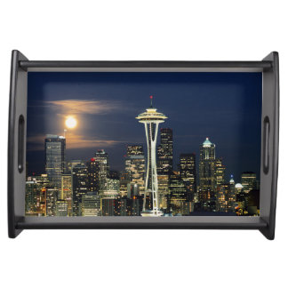 Washington, Seattle, Skyline at night from Kerry 1 Serving Tray
