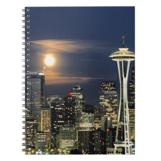 Washington, Seattle, Skyline at night from Kerry 1 Spiral Notebook
