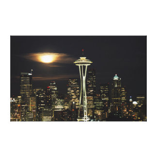 Washington, Seattle, Skyline at night from Kerry 2 Canvas Print
