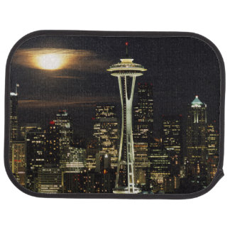 Washington, Seattle, Skyline at night from Kerry 2 Car Mat