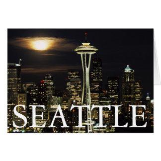 Washington, Seattle, Skyline at night from Kerry 2 Card