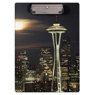 Washington, Seattle, Skyline at night from Kerry 2 Clipboard