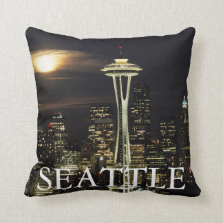Washington, Seattle, Skyline at night from Kerry 2 Cushion