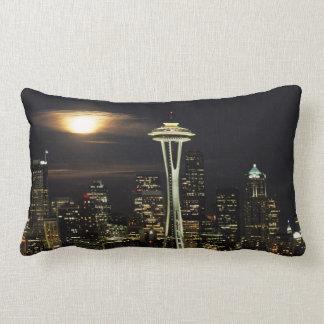 Washington, Seattle, Skyline at night from Kerry 2 Lumbar Cushion