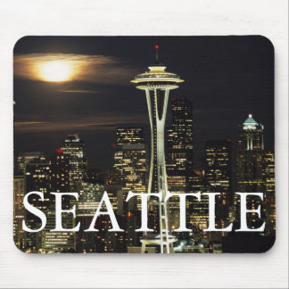 Washington, Seattle, Skyline at night from Kerry 2 Mouse Mat