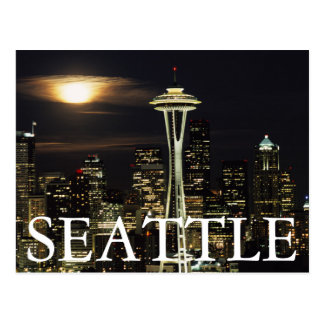 Washington, Seattle, Skyline at night from Kerry 2 Postcard