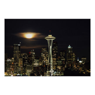 Washington, Seattle, Skyline at night from Kerry 2 Poster