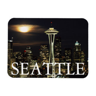 Washington, Seattle, Skyline at night from Kerry 2 Rectangular Photo Magnet