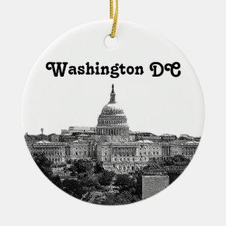 Washington Skyline Etched Christmas Ornament