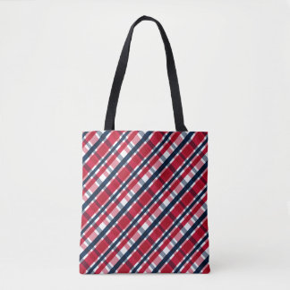 Washington Sports Fan Red White Blue Plaid Tote Bag
