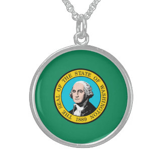 Washington State Flag Design Round Pendant Necklace