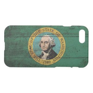 Washington State Flag on Old Wood Grain iPhone 8/7 Case