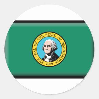 Washington State Flag Round Stickers