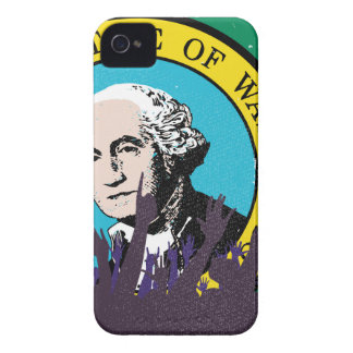 Washington State Flag with Audience iPhone 4 Case-Mate Cases