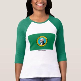 Washington State flag  Women's-T-Shirt-White-Green T-Shirt