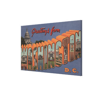 Washington (State) - Large Letter Scenes 2 Canvas Print