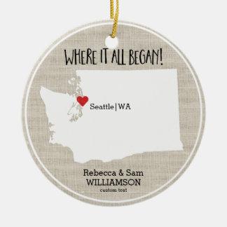 Washington State Love Custom Map New Couple Christmas Ornament