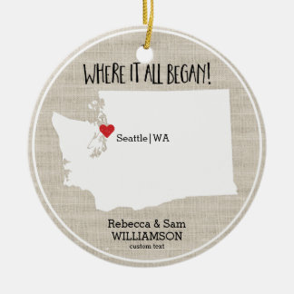 Washington State Love Custom Map New Couple Round Ceramic Decoration