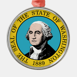 Washington state seal america republic symbol flag Silver-Colored round decoration