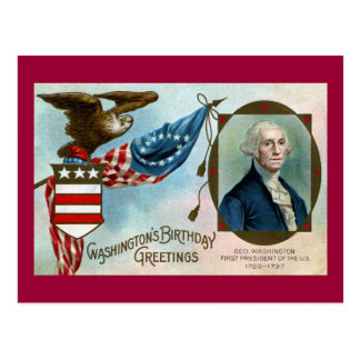 Washington's Birthday Greetings Postcard