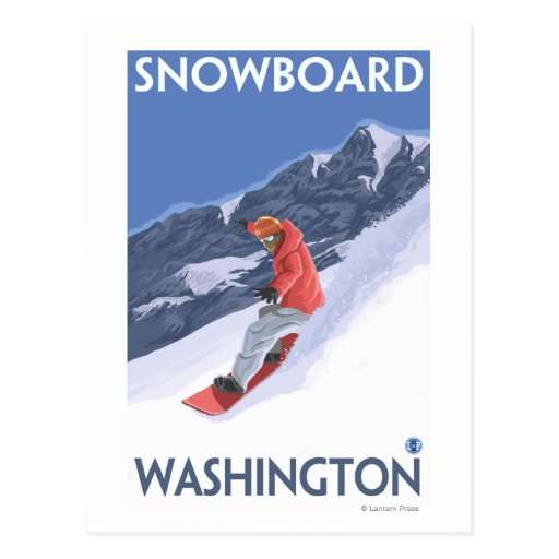WashingtonSnowboarding Vintage Travel Poster Post Card