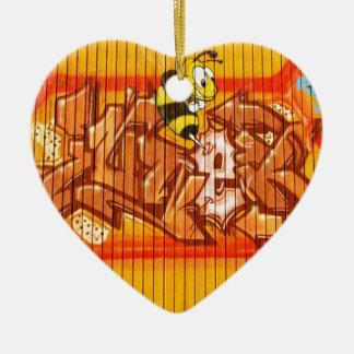 Wasp Graffiti Wall Ceramic Heart Decoration