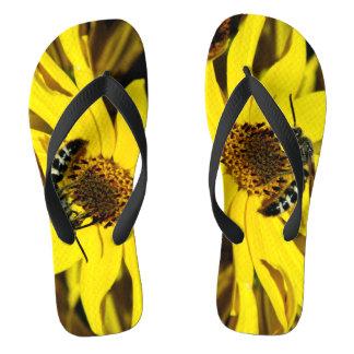 Wasp On Sunflower Photograph On Flip Flops