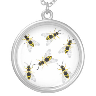 wasp silver plated necklace