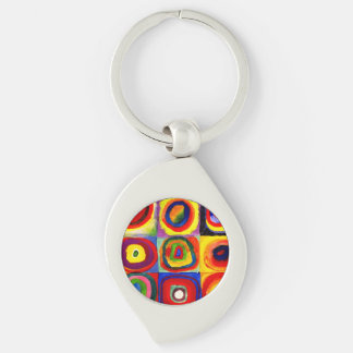 Wassily Kandinsky  Farbstudie Quadrate Colorful Silver-Colored Swirl Key Ring