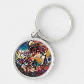 Wassily Kandinsky - Moscow Cityscape Abstract Art Silver-Colored Round Key Ring