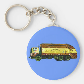 WASTE DISPOSAL GARBAGE TRUCK Art Keychain