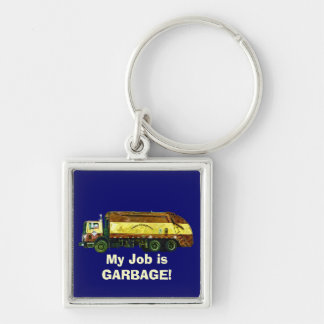 WASTE DISPOSAL GARBAGE TRUCK Funny Art Keychain