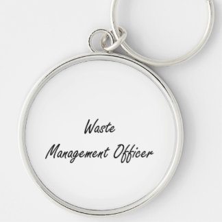 Waste Management Officer Artistic Job Design Silver-Colored Round Keychain
