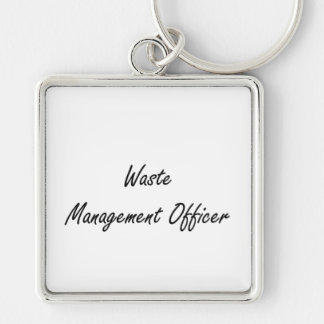 Waste Management Officer Artistic Job Design Silver-Colored Square Key Ring