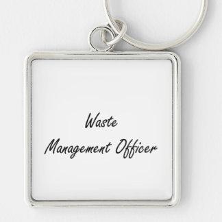 Waste Management Officer Artistic Job Design Silver-Colored Square Key Ring